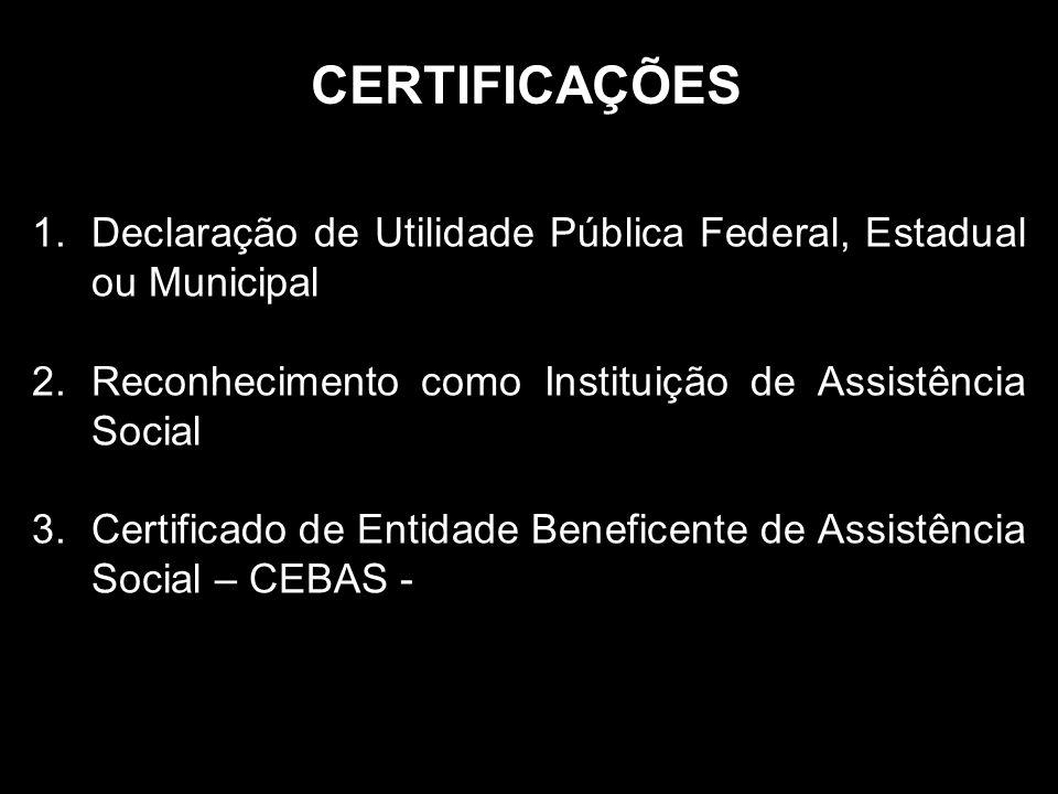 CERTIFICAÇÕES 1.Declaração de Utilidade Pública Federal, Estadual ou Municipal 2.Reconhecimento como Instituição de Assistência Social 3.Certificado de Entidade Beneficente de Assistência Social – CEBAS -