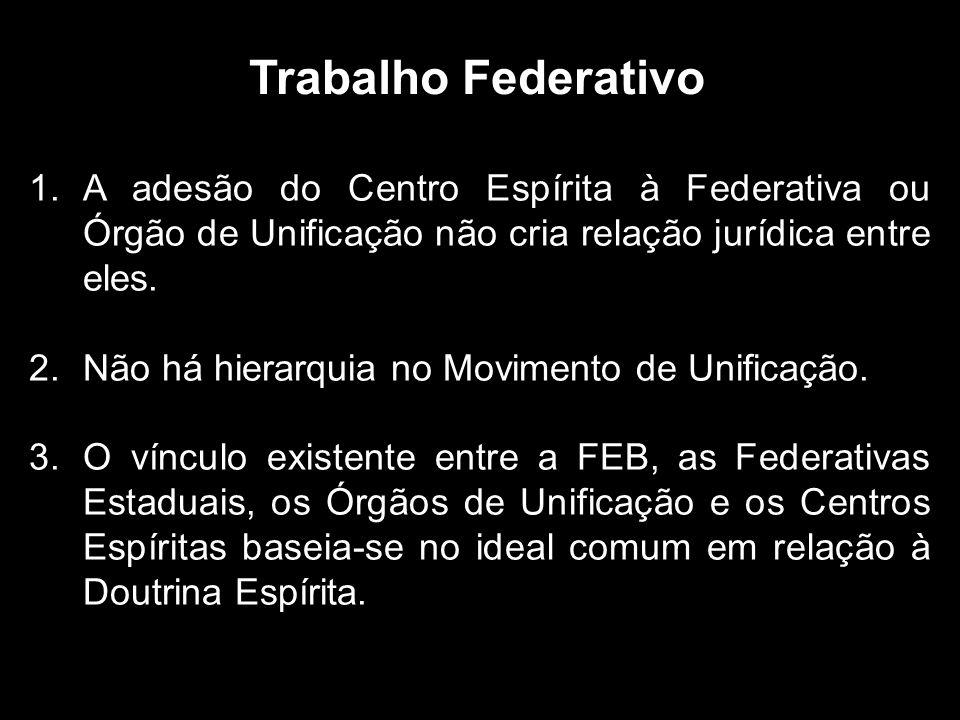 Trabalho Federativo 1.A adesão do Centro Espírita à Federativa ou Órgão de Unificação não cria relação jurídica entre eles.