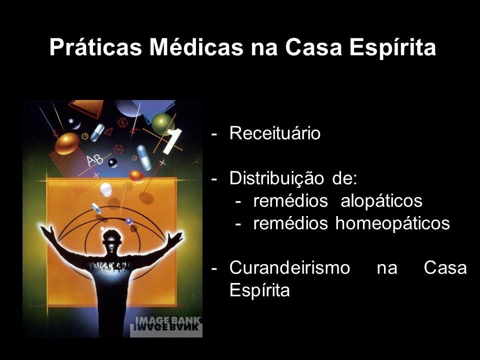 -Receituário -Distribuição de: -remédios alopáticos -remédios homeopáticos -Curandeirismo na Casa Espírita Práticas Médicas na Casa Espírita