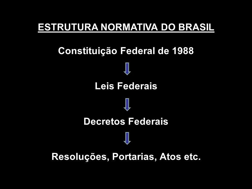 ESTRUTURA NORMATIVA DO BRASIL Constituição Federal de 1988 Leis Federais Decretos Federais Resoluções, Portarias, Atos etc.
