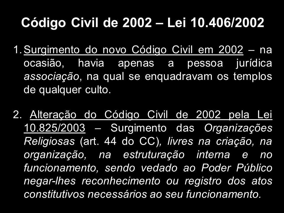 Código Civil de 2002 – Lei 10.406/2002 1.Surgimento do novo Código Civil em 2002 – na ocasião, havia apenas a pessoa jurídica associação, na qual se enquadravam os templos de qualquer culto.