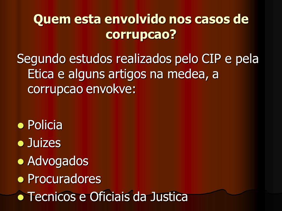 Quem esta envolvido nos casos de corrupcao.