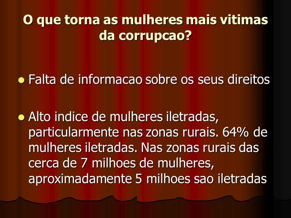 O que torna as mulheres mais vitimas da corrupcao.