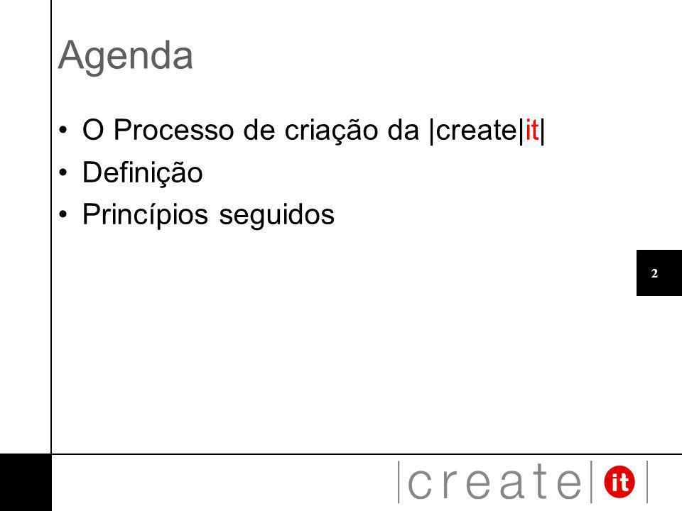 2 Agenda O Processo de criação da |create|it| Definição Princípios seguidos