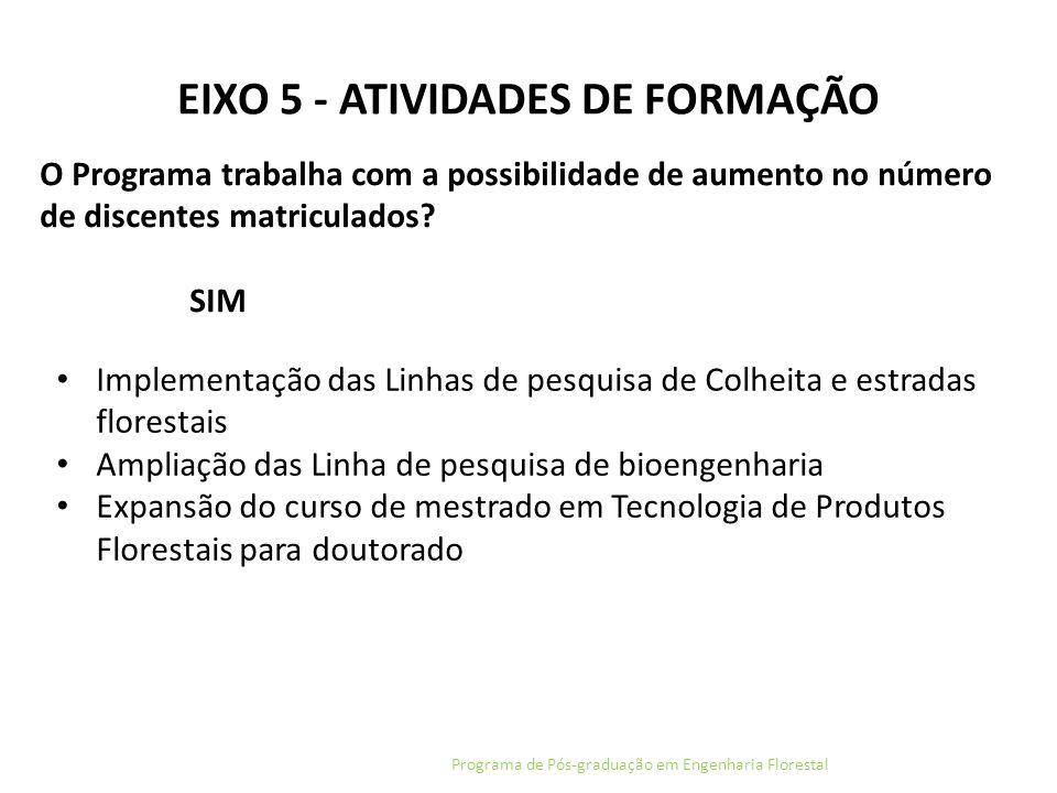 EIXO 5 - ATIVIDADES DE FORMAÇÃO Programa de Pós-graduação em Engenharia Florestal O Programa trabalha com a possibilidade de aumento no número de disc
