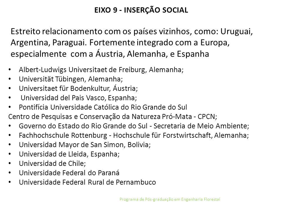 EIXO 9 - INSERÇÃO SOCIAL Programa de Pós-graduação em Engenharia Florestal Estreito relacionamento com os países vizinhos, como: Uruguai, Argentina, P