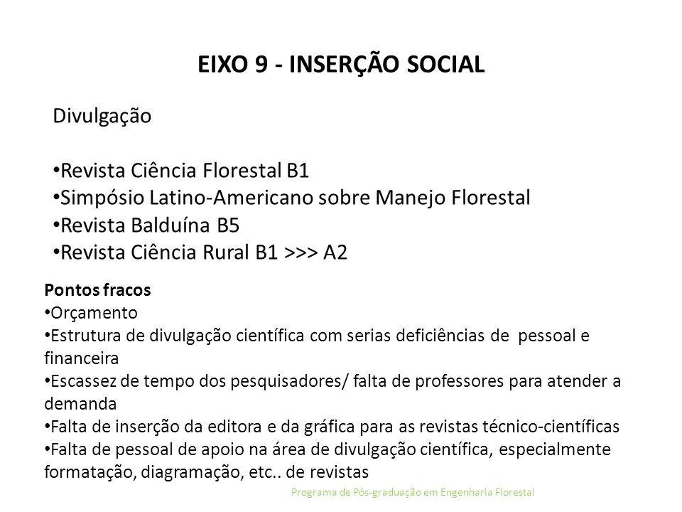 EIXO 9 - INSERÇÃO SOCIAL Programa de Pós-graduação em Engenharia Florestal Divulgação Revista Ciência Florestal B1 Simpósio Latino-Americano sobre Man
