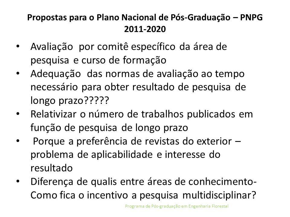 Propostas para o Plano Nacional de Pós-Graduação – PNPG 2011-2020 Programa de Pós-graduação em Engenharia Florestal Avaliação por comitê específico da
