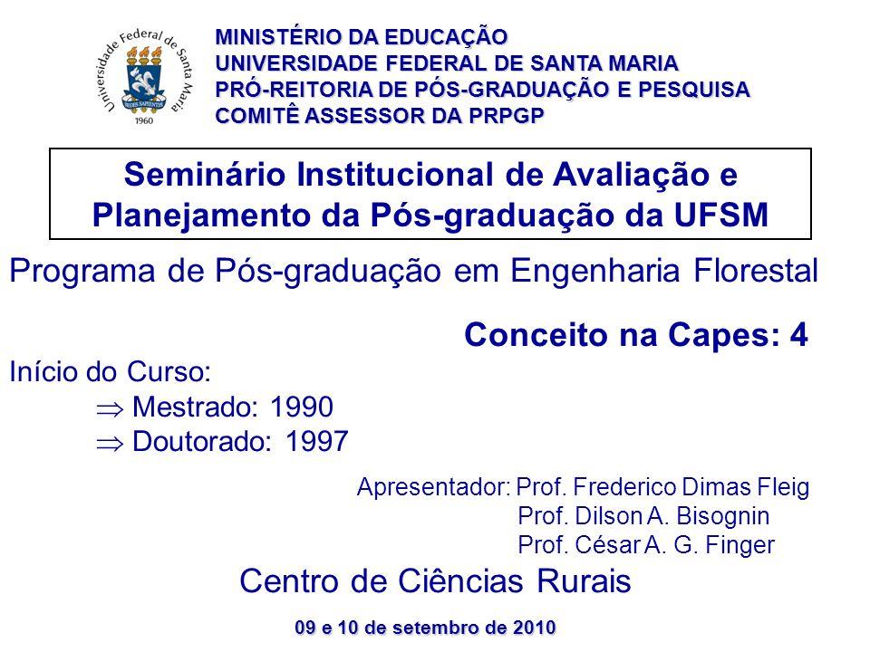 09 e 10 de setembro de 2010 Seminário Institucional de Avaliação e Planejamento da Pós-graduação da UFSM MINISTÉRIO DA EDUCAÇÃO UNIVERSIDADE FEDERAL DE SANTA MARIA PRÓ-REITORIA DE PÓS-GRADUAÇÃO E PESQUISA COMITÊ ASSESSOR DA PRPGP Programa de Pós-graduação em Engenharia Florestal Conceito na Capes: 4 Início do Curso: Mestrado: 1990 Doutorado: 1997 Apresentador: Prof.