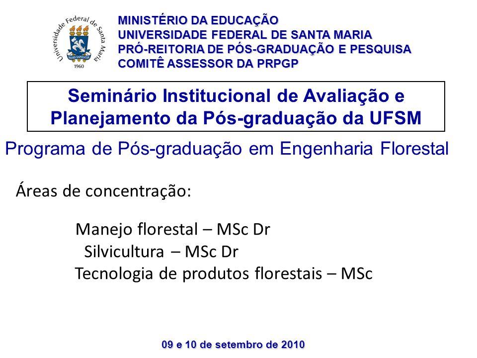 09 e 10 de setembro de 2010 Seminário Institucional de Avaliação e Planejamento da Pós-graduação da UFSM MINISTÉRIO DA EDUCAÇÃO UNIVERSIDADE FEDERAL DE SANTA MARIA PRÓ-REITORIA DE PÓS-GRADUAÇÃO E PESQUISA COMITÊ ASSESSOR DA PRPGP Programa de Pós-graduação em Engenharia Florestal Áreas de concentração: Manejo florestal – MSc Dr Silvicultura – MSc Dr Tecnologia de produtos florestais – MSc