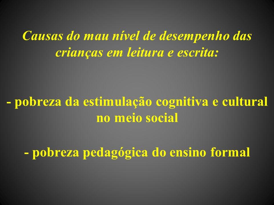 Causas do mau nível de desempenho das crianças em leitura e escrita: - pobreza da estimulação cognitiva e cultural no meio social - pobreza pedagógica do ensino formal