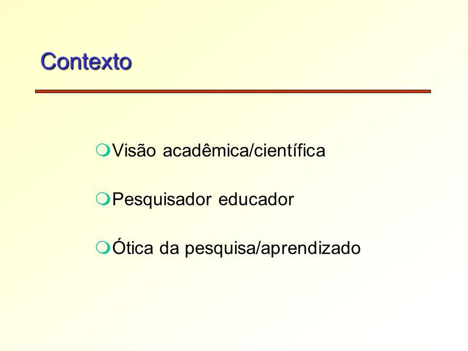 Contexto mVisão acadêmica/científica mPesquisador educador mÓtica da pesquisa/aprendizado