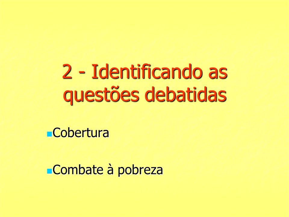 2 - Identificando as questões debatidas Cobertura Cobertura Combate à pobreza Combate à pobreza