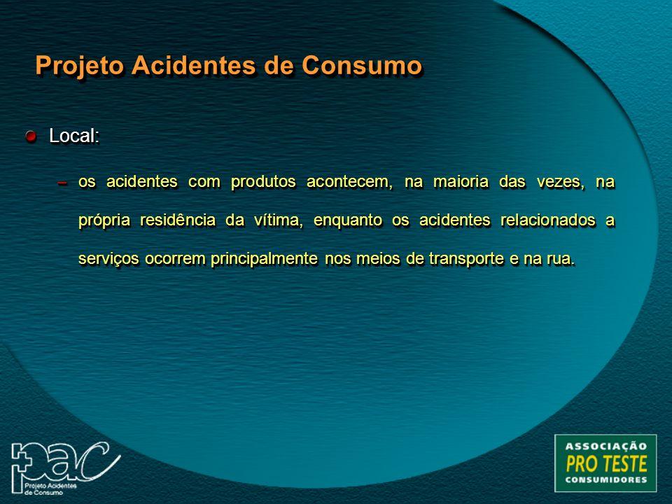 Local: –os acidentes com produtos acontecem, na maioria das vezes, na própria residência da vítima, enquanto os acidentes relacionados a serviços ocor