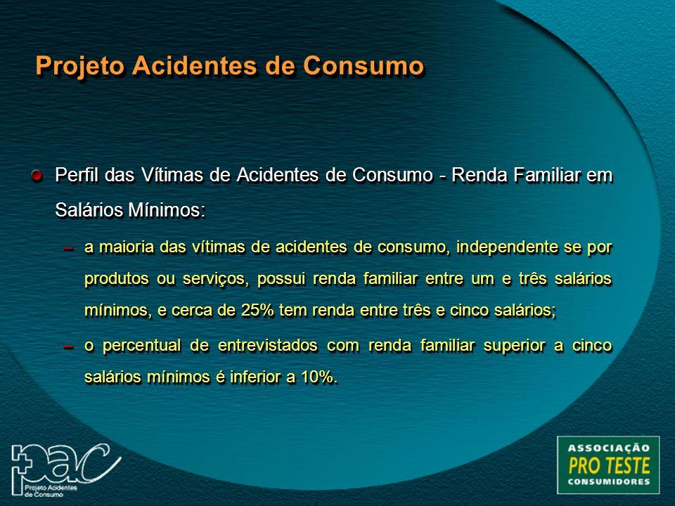 Perfil das Vítimas de Acidentes de Consumo - Renda Familiar em Salários Mínimos: –a maioria das vítimas de acidentes de consumo, independente se por p