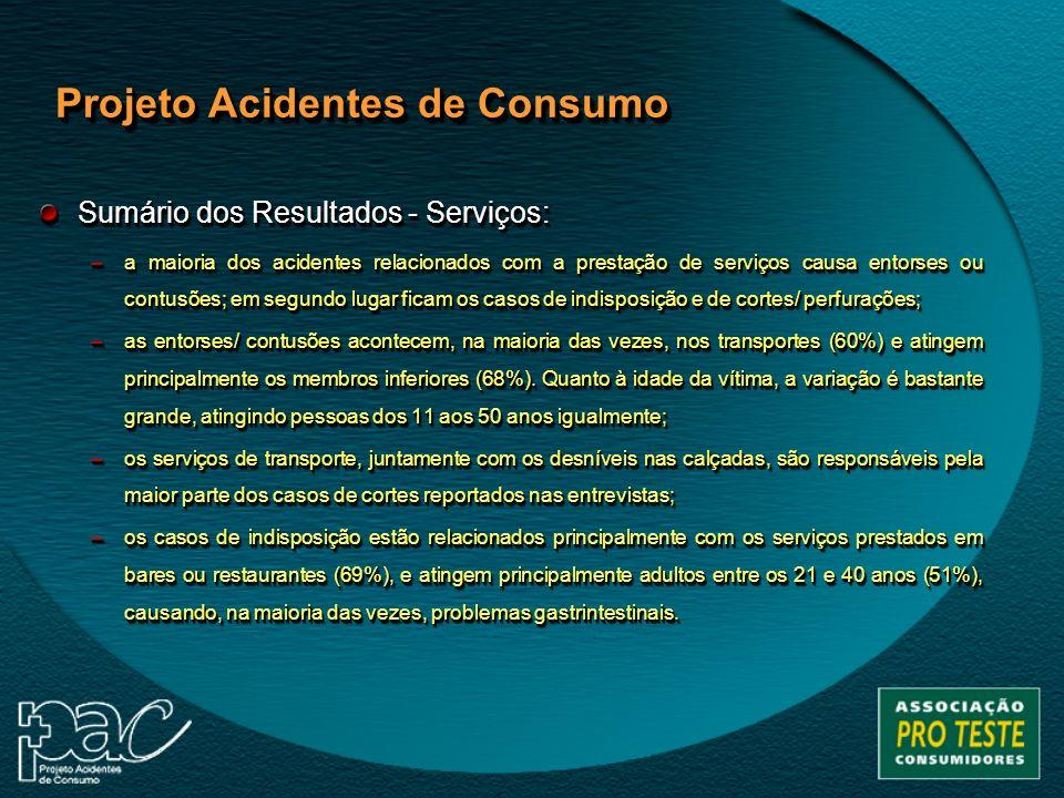 Sumário dos Resultados - Serviços: –a maioria dos acidentes relacionados com a prestação de serviços causa entorses ou contusões; em segundo lugar fic