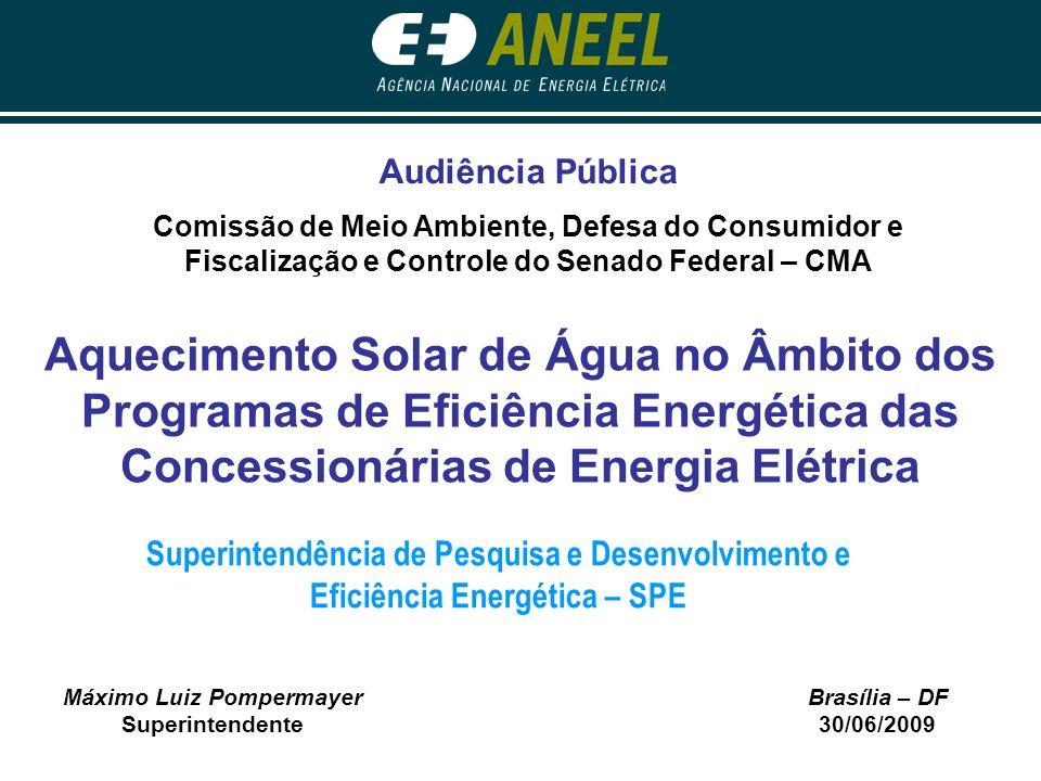 Máximo Luiz Pompermayer Superintendente Brasília – DF 30/06/2009 Aquecimento Solar de Água no Âmbito dos Programas de Eficiência Energética das Conces