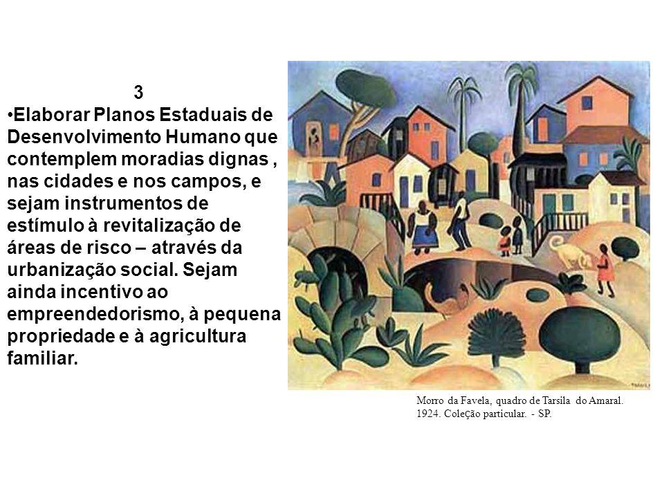 3 Elaborar Planos Estaduais de Desenvolvimento Humano que contemplem moradias dignas, nas cidades e nos campos, e sejam instrumentos de estímulo à rev