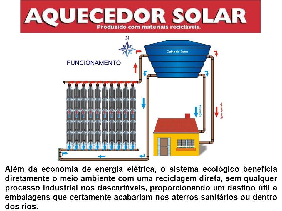 Além da economia de energia elétrica, o sistema ecológico beneficia diretamente o meio ambiente com uma reciclagem direta, sem qualquer processo indus
