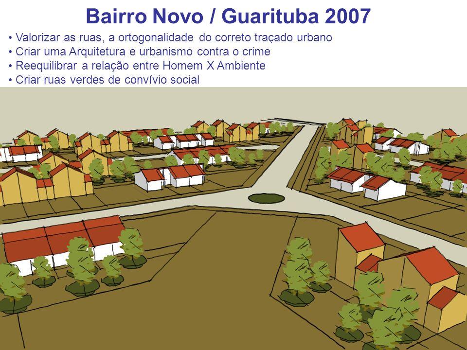 Bairro Novo / Guarituba 2007 Valorizar as ruas, a ortogonalidade do correto traçado urbano Criar uma Arquitetura e urbanismo contra o crime Reequilibr