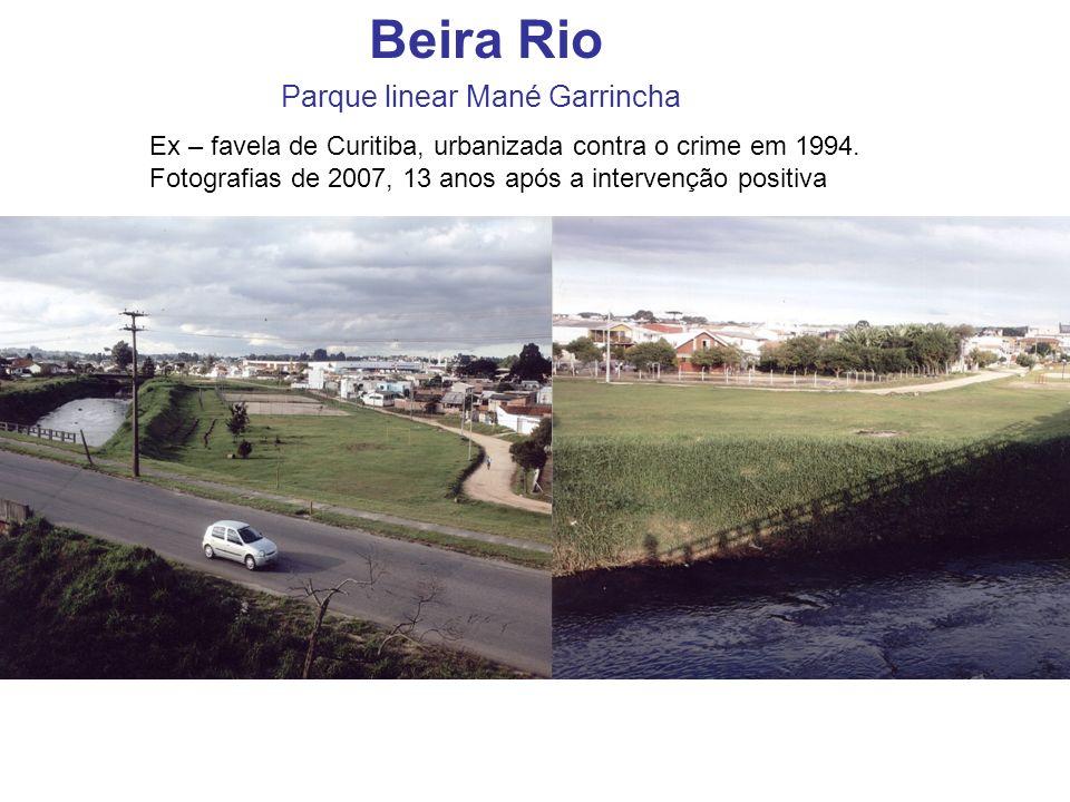 Beira Rio Parque linear Mané Garrincha Ex – favela de Curitiba, urbanizada contra o crime em 1994. Fotografias de 2007, 13 anos após a intervenção pos