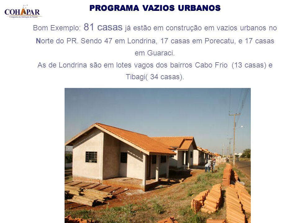 PROGRAMA VAZIOS URBANOS Bom Exemplo: 81 casas já estão em construção em vazios urbanos no Norte do PR. Sendo 47 em Londrina, 17 casas em Porecatu, e 1