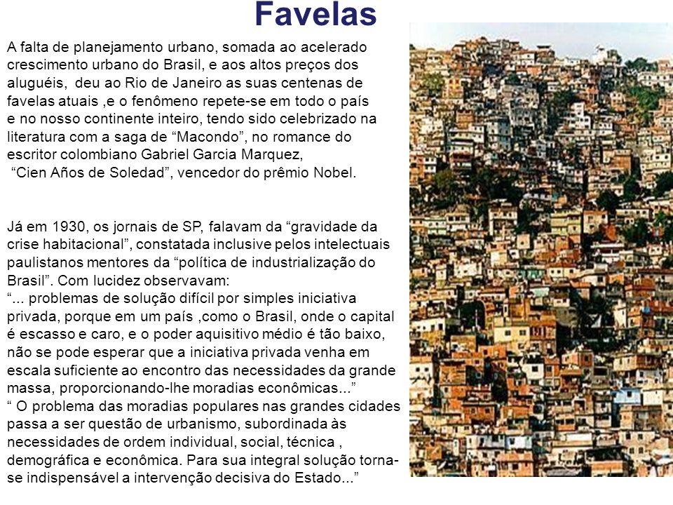 A falta de planejamento urbano, somada ao acelerado crescimento urbano do Brasil, e aos altos preços dos aluguéis, deu ao Rio de Janeiro as suas cente
