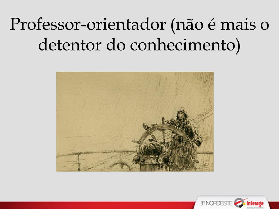 Professor-orientador (não é mais o detentor do conhecimento)