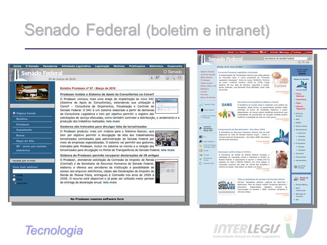 Senado Federal (boletim e intranet) Tecnologia