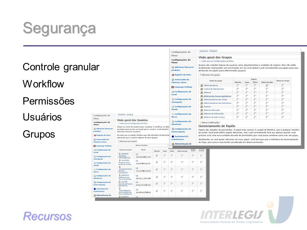 Segurança Controle granular Workflow Permissões Usuários Grupos Recursos