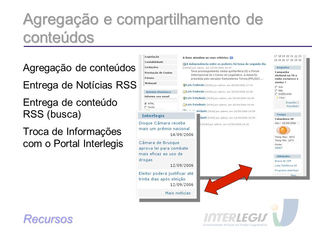 Agregação e compartilhamento de conteúdos Agregação de conteúdos Entrega de Notícias RSS Entrega de conteúdo RSS (busca) Troca de Informações com o Portal Interlegis Recursos