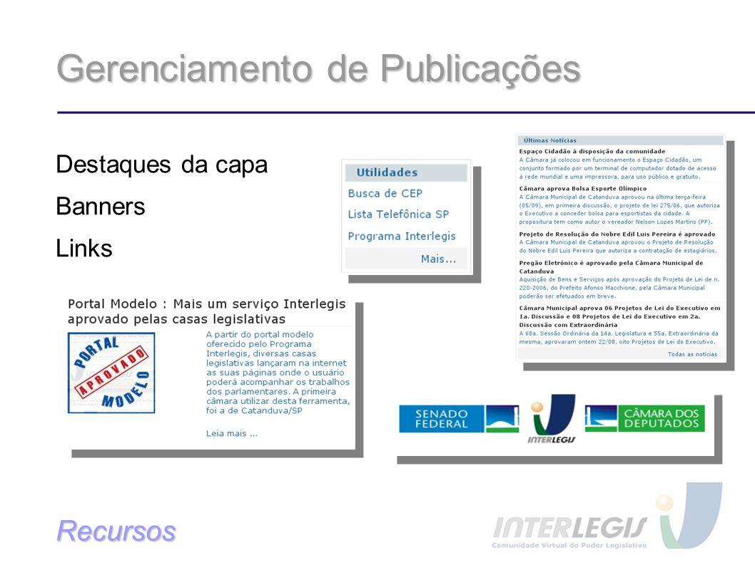 Gerenciamento de Publicações Destaques da capa Banners Links Recursos