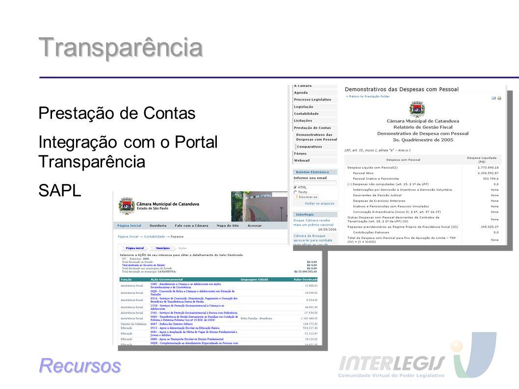Transparência Prestação de Contas Integração com o Portal Transparência SAPL Recursos