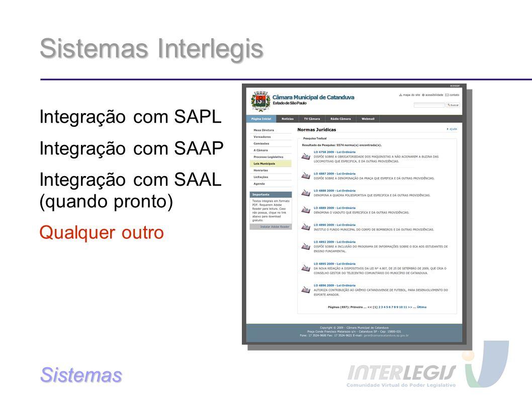 Sistemas Interlegis Integração com SAPL Integração com SAAP Integração com SAAL (quando pronto) Qualquer outro Sistemas