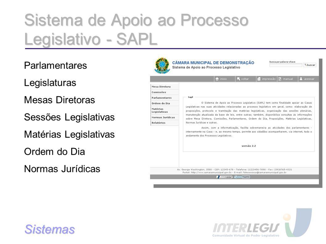 Sistema de Apoio ao Processo Legislativo - SAPL Parlamentares Legislaturas Mesas Diretoras Sessões Legislativas Matérias Legislativas Ordem do Dia Normas Jurídicas Sistemas