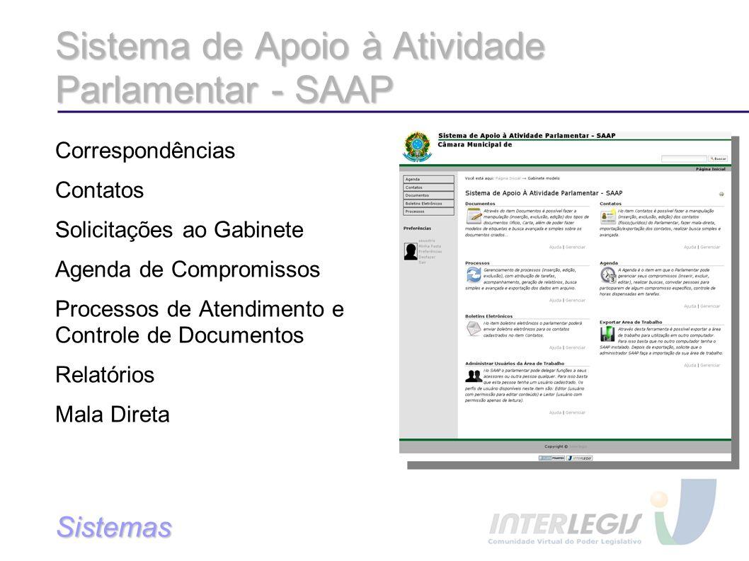 Sistema de Apoio à Atividade Parlamentar - SAAP Correspondências Contatos Solicitações ao Gabinete Agenda de Compromissos Processos de Atendimento e Controle de Documentos Relatórios Mala Direta Sistemas