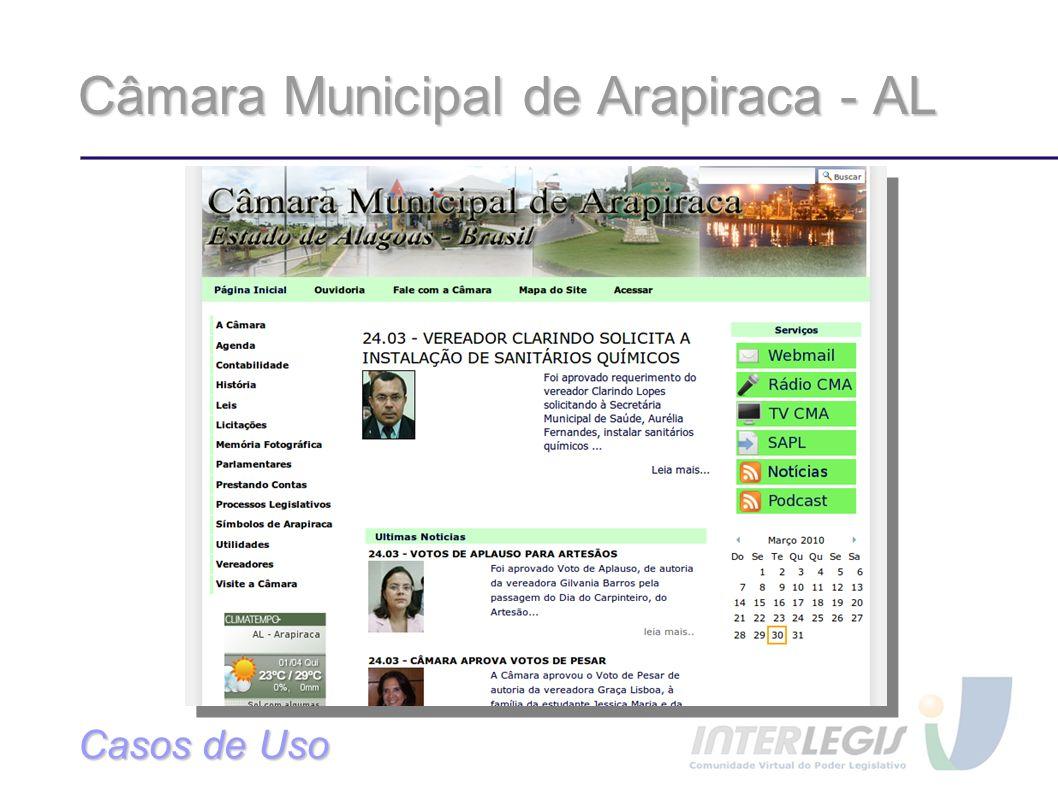 Câmara Municipal de Arapiraca - AL Casos de Uso