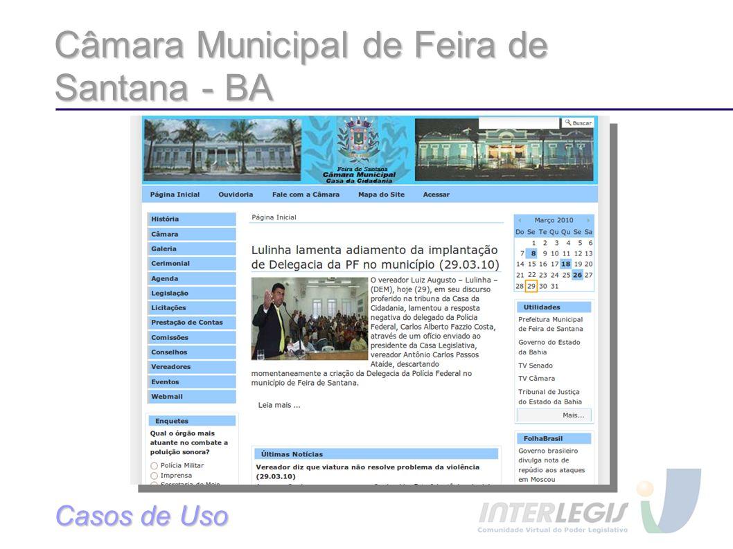 Câmara Municipal de Feira de Santana - BA Casos de Uso