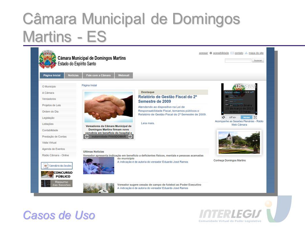 Câmara Municipal de Domingos Martins - ES Casos de Uso