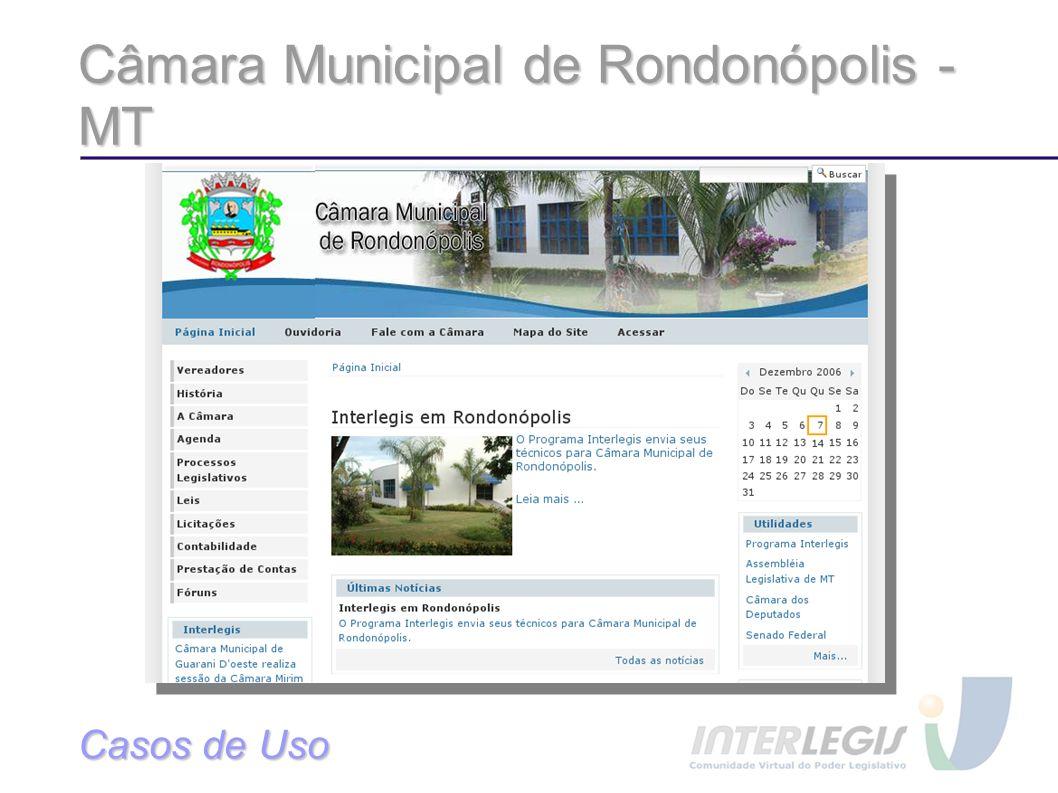 Câmara Municipal de Rondonópolis - MT Casos de Uso