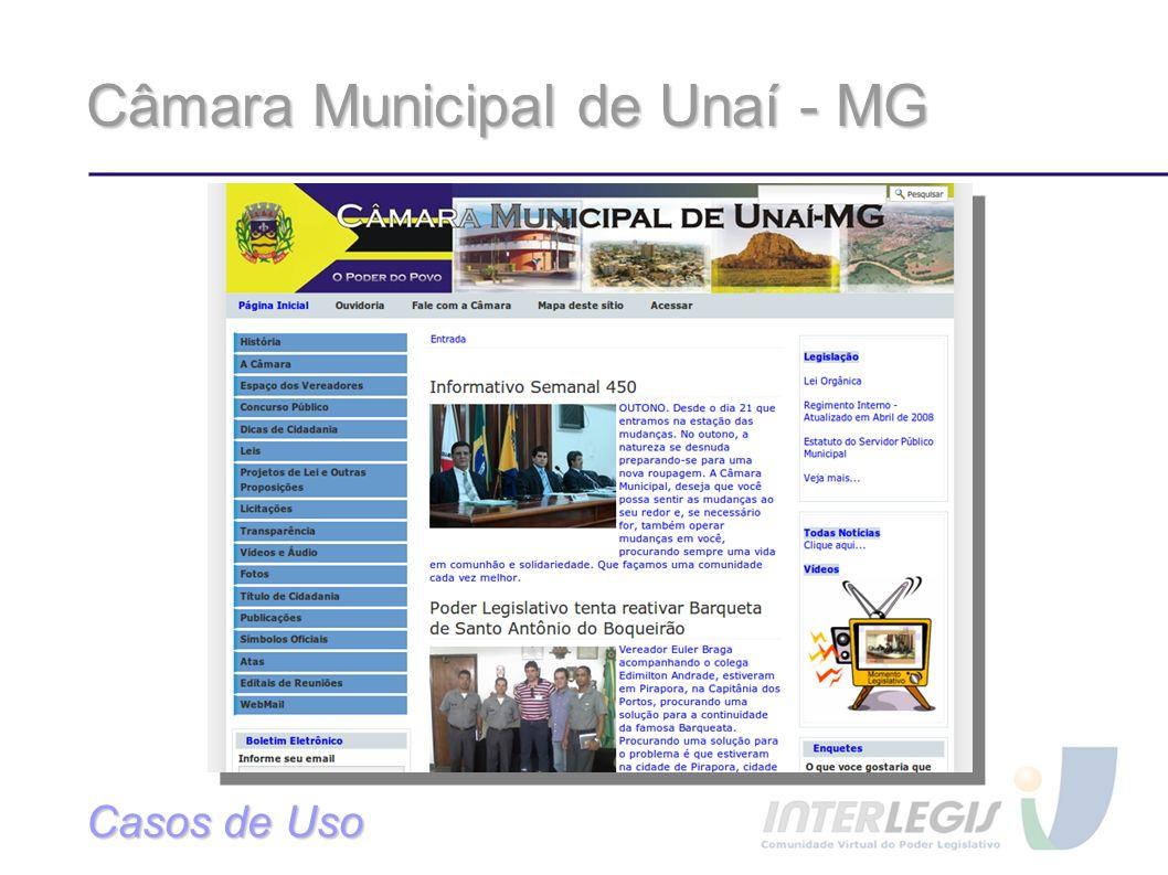 Câmara Municipal de Unaí - MG Casos de Uso