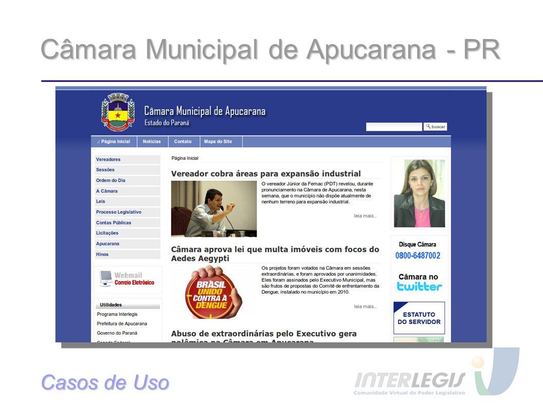 Câmara Municipal de Apucarana - PR Casos de Uso
