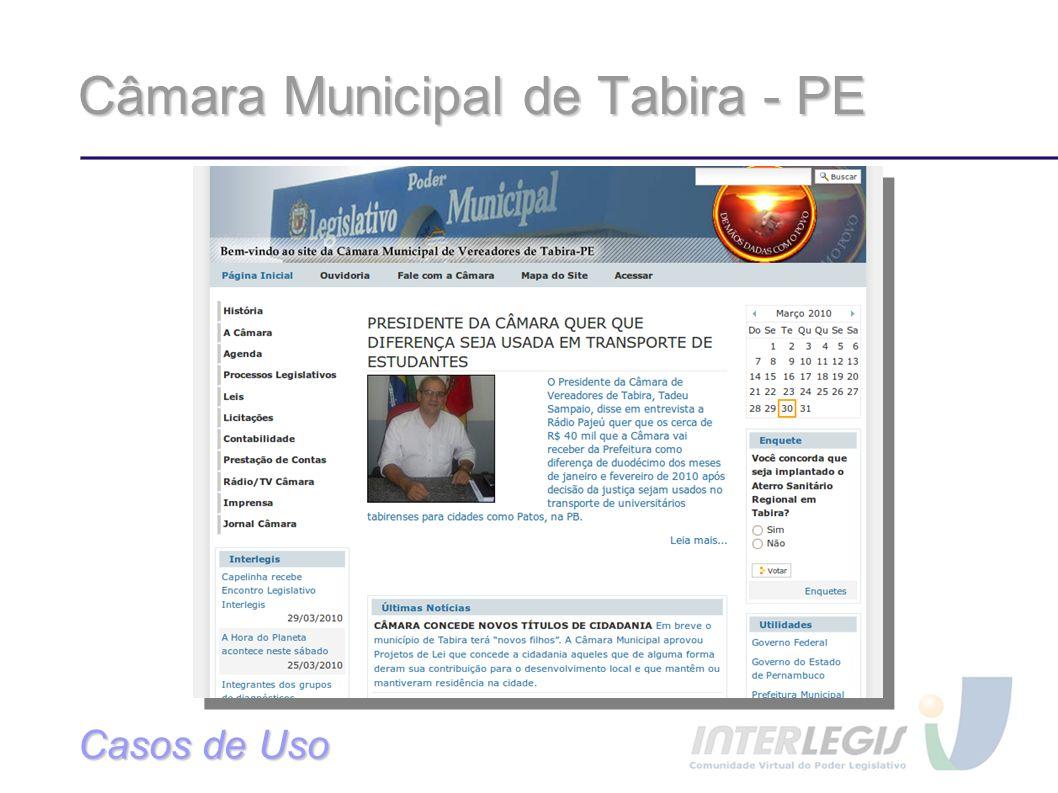 Câmara Municipal de Tabira - PE Casos de Uso