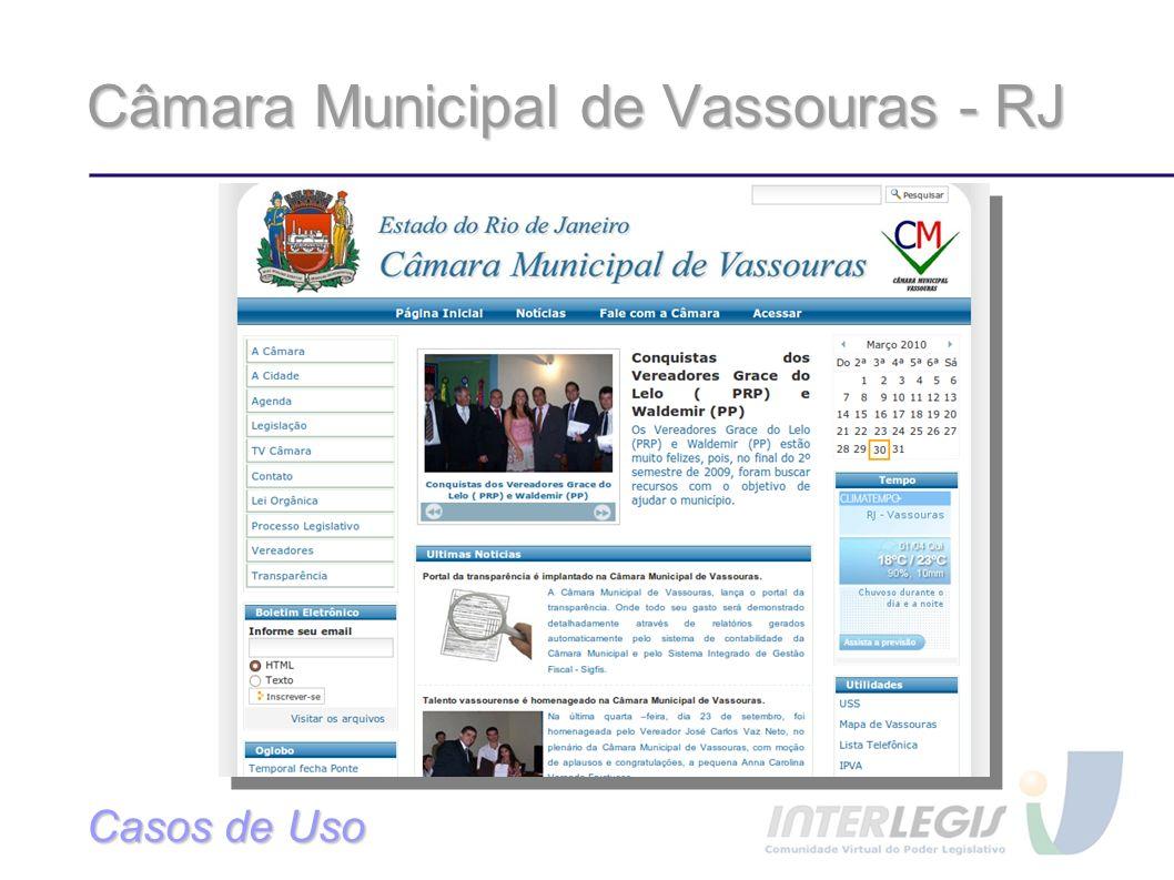 Câmara Municipal de Vassouras - RJ Casos de Uso