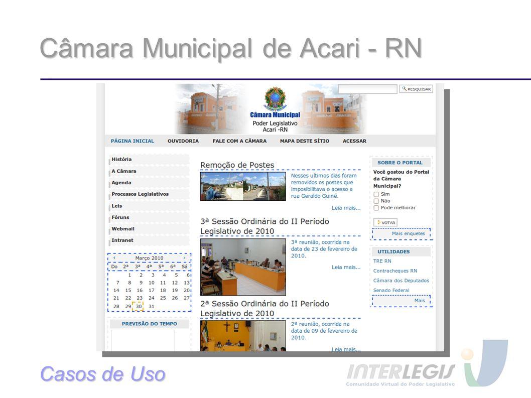 Câmara Municipal de Acari - RN Casos de Uso