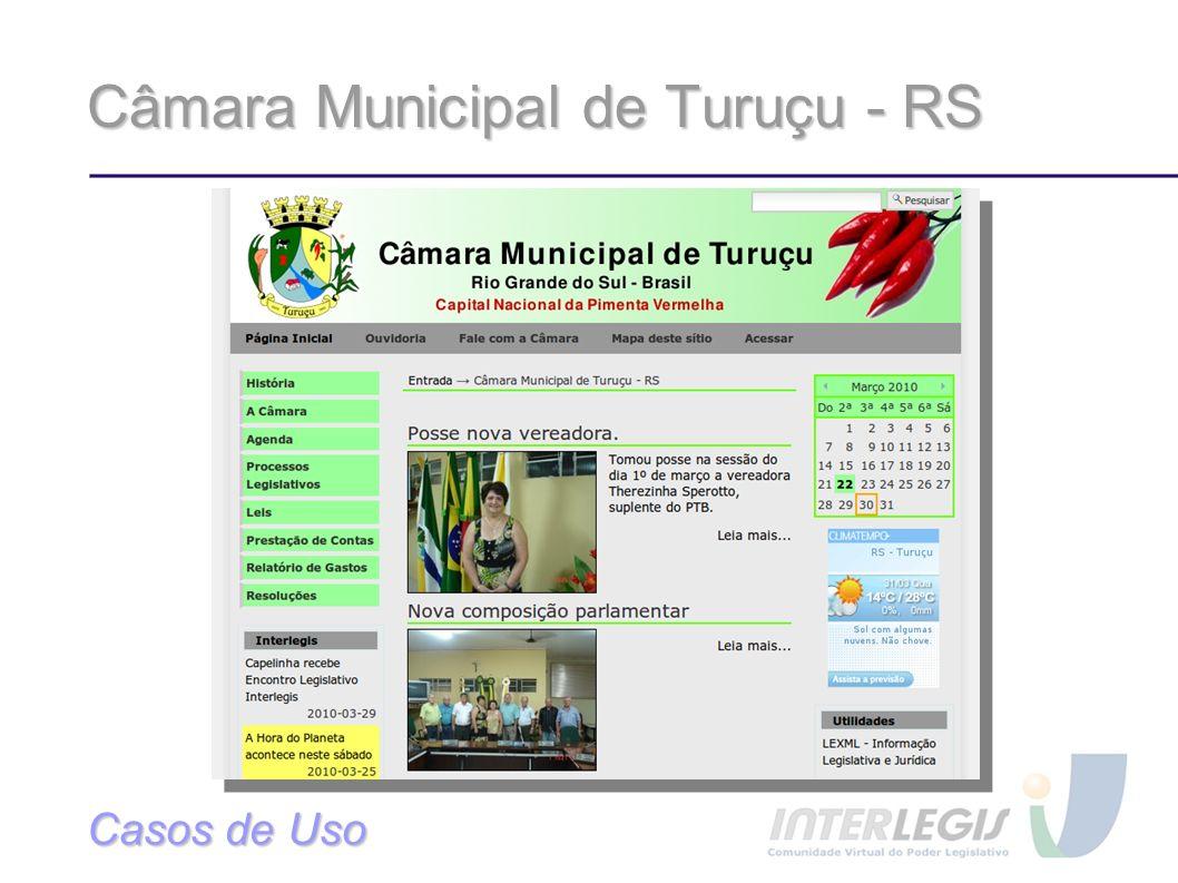 Câmara Municipal de Turuçu - RS Casos de Uso