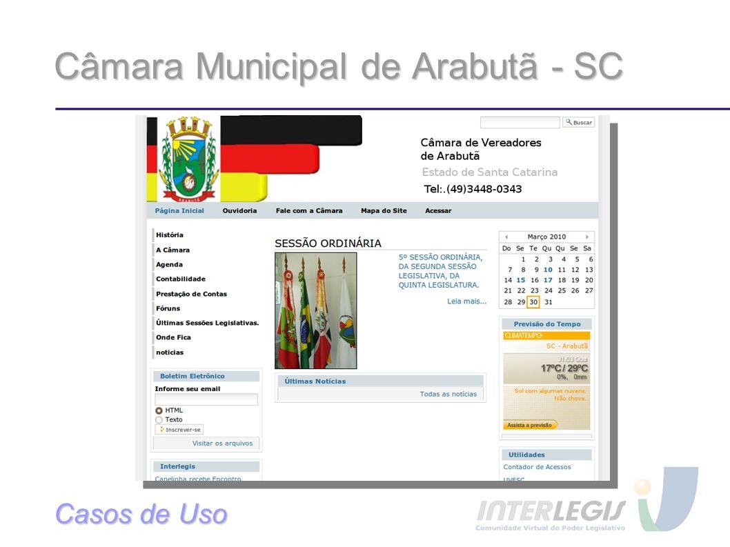 Câmara Municipal de Arabutã - SC Casos de Uso
