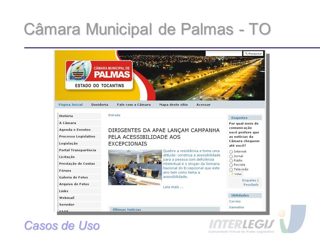 Câmara Municipal de Palmas - TO Casos de Uso