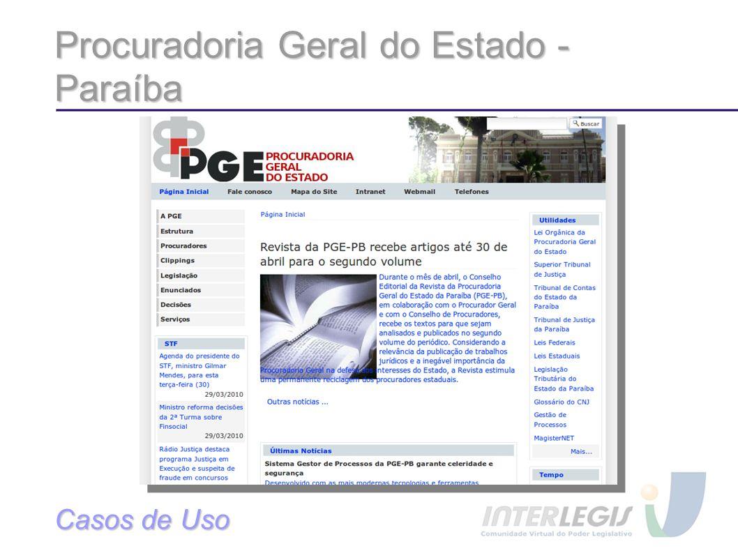 Procuradoria Geral do Estado - Paraíba Casos de Uso