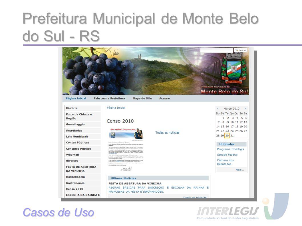 Prefeitura Municipal de Monte Belo do Sul - RS Casos de Uso